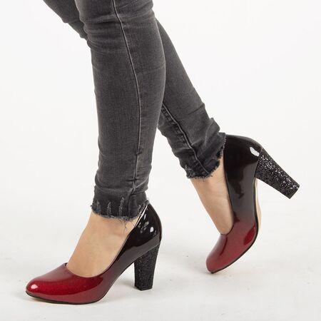 Pantofi de dama, rosii, cu toc patrat XQ55077AA-RED, Marime: 36, imagine