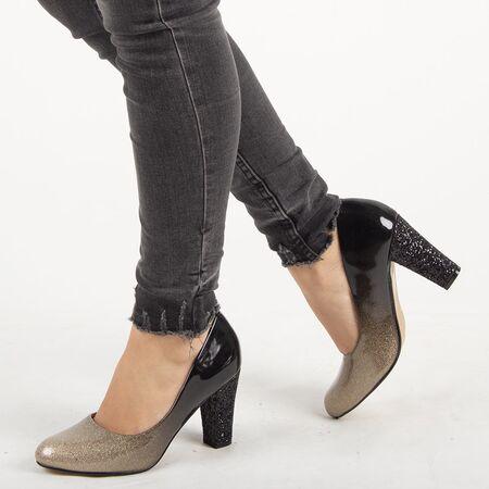Pantofi de dama, aurii, cu toc patrat XQ55077AA-GOLD, Marime: 36, imagine