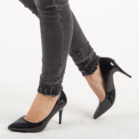 Pantofi de dama, negri, stiletto cu toc inalt si subtire YHL869-BLACK, Marime: 36*, imagine