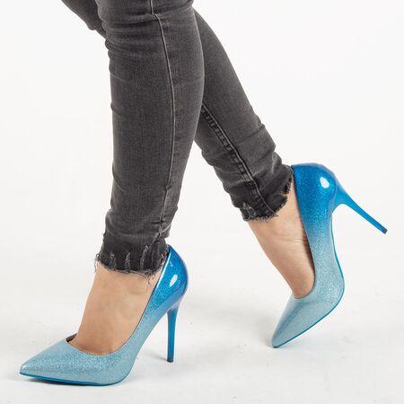 Pantofi de dama, albastri, stiletto cu toc inalt si subtire XQ55051-BLUE, Marime: 36, imagine