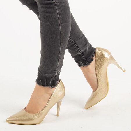 Pantofi de dama, aurii, stiletto cu toc inalt si subtire Q755-GOLD, Marime: 35, imagine