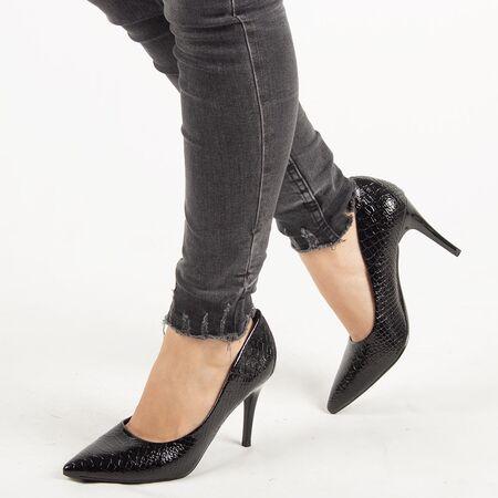 Pantofi de dama, negri, stiletto cu toc inalt si subtire Q755-BLACK, Marime: 36, imagine