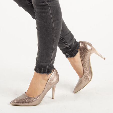 Pantofi de dama, stiletto cu toc inalt si subtire Q755-CHAMPAGNE, Marime: 35, imagine