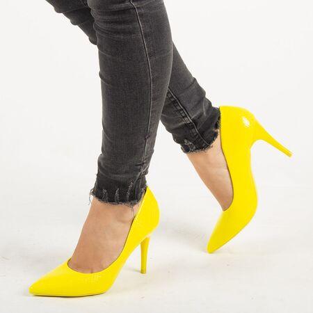 Pantofi de dama, galbeni, stiletto cu toc inalt si subtire Q755-YELLOW, Marime: 35, imagine
