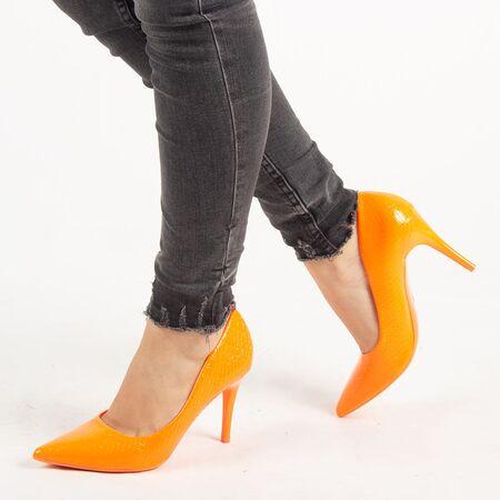 Pantofi de dama, portocalii, stiletto cu toc inalt si subtire Q755-ORANGE, Marime: 35, imagine