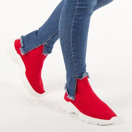 Sneakers de dama din material elastic P303-RED, Marime: 36, imagine